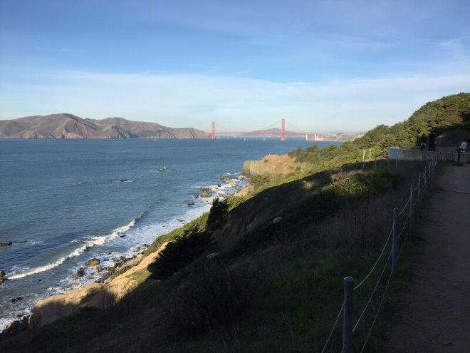 View of Golden Gate Bridge and Lands End in San Francisco